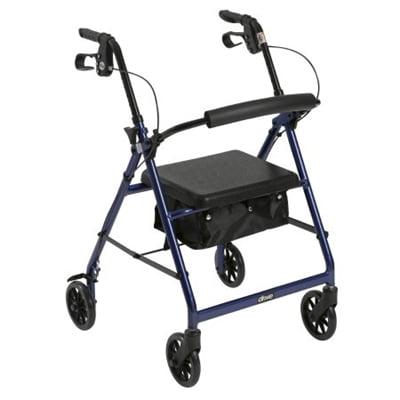 "4 Wheel Rollator, Lightweight Folding Blue Aluminum Frame, 6"" Caster Wheels, Adjustable 32"" to 37"""