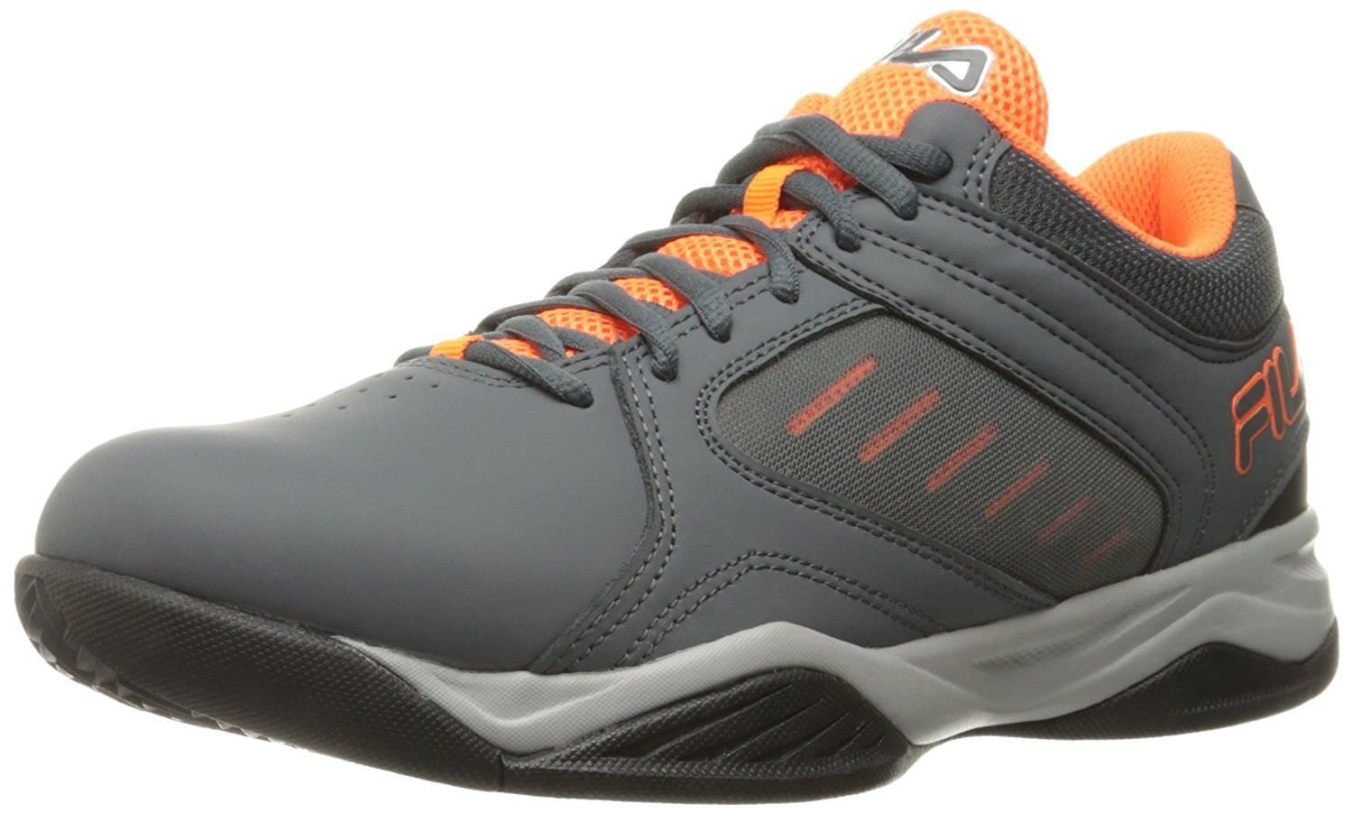 Fila BANK Mens Grey Orange Low Top Athletic Basketball Sneakers Shoes by