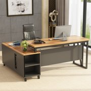 Tribesigns Large L-Shaped Desk, Executive Office Desk Computer Table Workstation with Storage, Business Furniture with File Cabinet, Dark Walnut + Black Legs