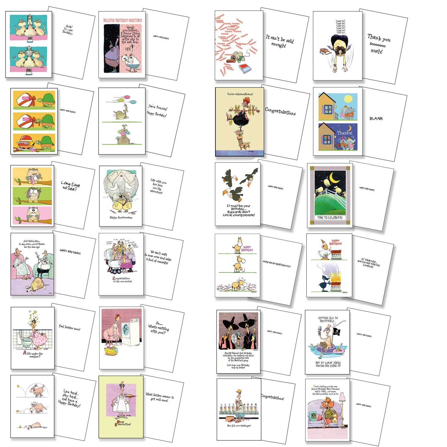 All Occasion Card Set - Birthday, Thank You, Friendship, Anniversary, Baby, Get Well - 24 Funny Assortment Card Pack - Bulk Assorted Cards