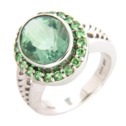 Sterling Silver Green Fluroite and Tsavorite Ring Size 7