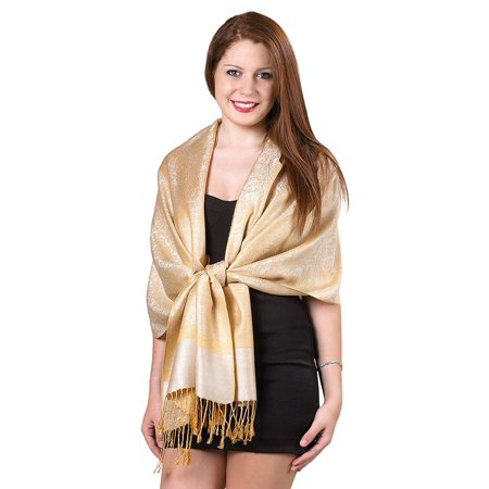Gilbin Luxurious Paisley Design 28 x 70 Silk Blend Pashmina Shawl Wrap