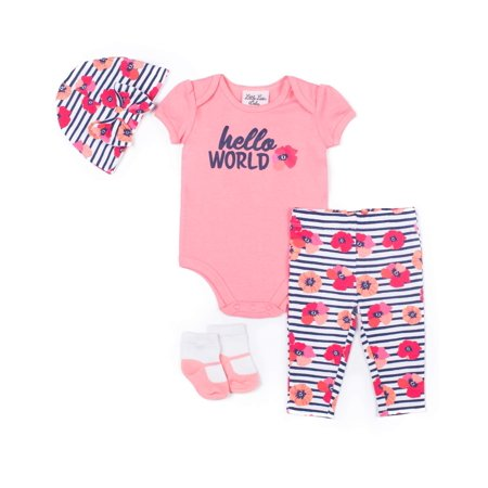 Floral Outfit Girl - Girl Floral Bodysuit, Pants, Cap & Socks, 4Pc Outfit Set