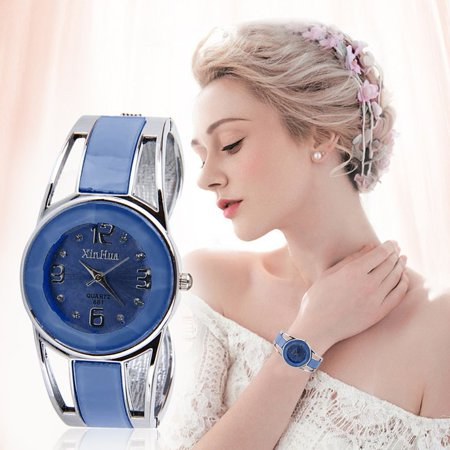 Fashionable Xinhua Women Bracelet Style Quartz Stainless Steel Analog Luxurious Watch With Round Dial For Female