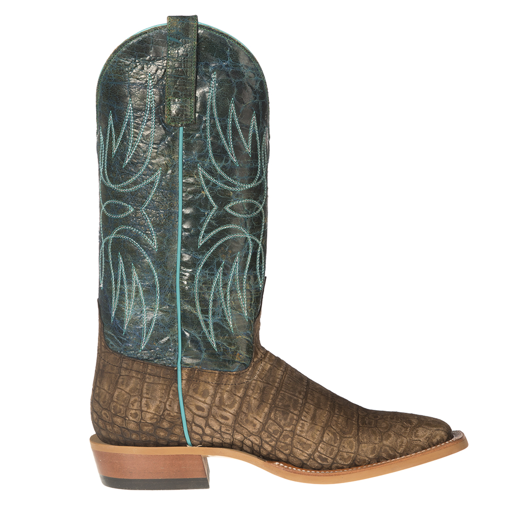 Horse Power Men's Cocoa Vintage Caiman Print Cowboy Boot Square Toe - Hp1815