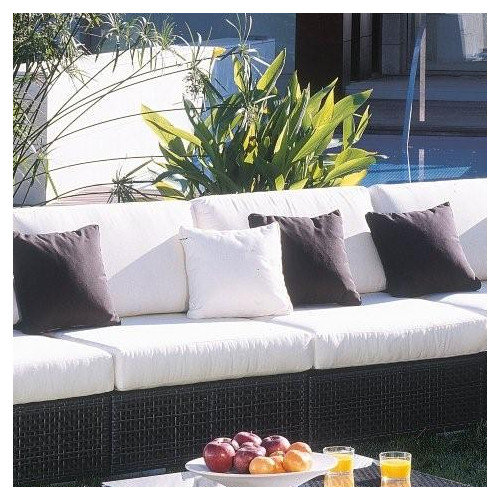 Hospitality Rattan Soho Patio Lounge Armless Chair with Cushion