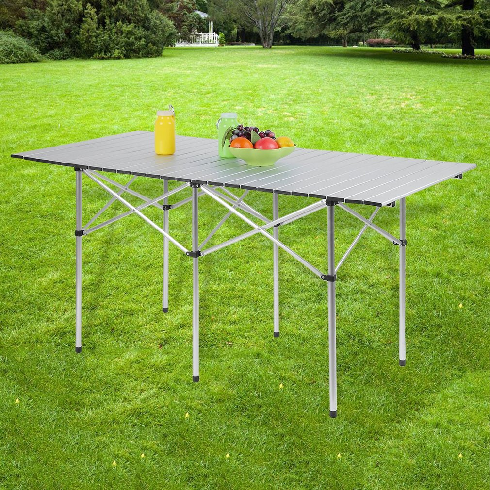 Durable 140x70cm Portable Desk Outdoor Picnic Table With Bag Rectangle Roll Up Mesa by Musics
