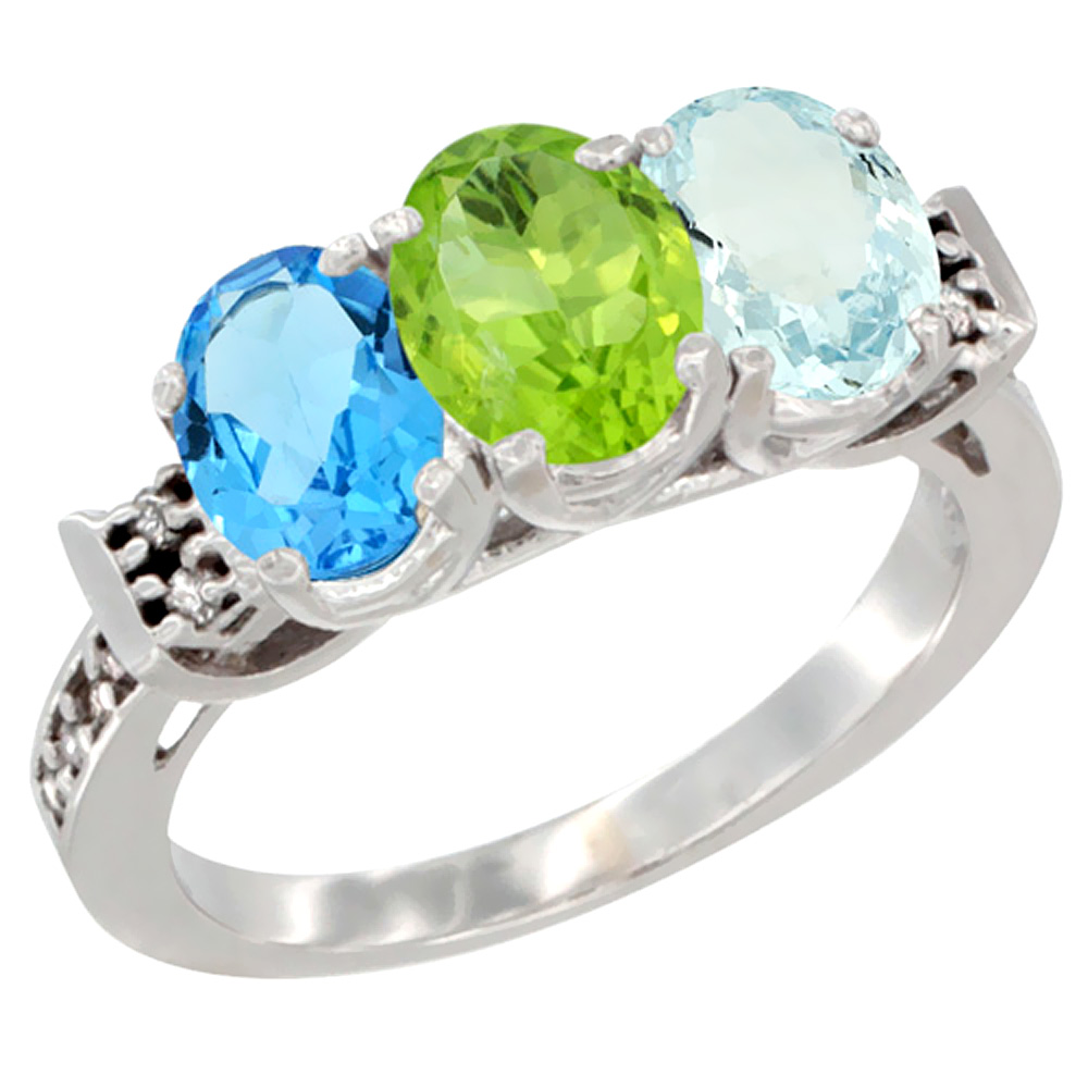 10K White Gold Natural Swiss Blue Topaz, Peridot & Aquamarine Ring 3-Stone Oval 7x5 mm Diamond Accent, sizes 5 10 by WorldJewels