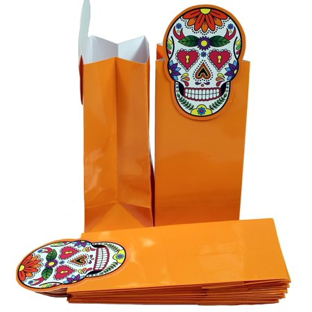 Glossy Coated Paper Treat Goody Bags, 6.5 x 3 Inch, Halloween Orange with Sugar Skull, Pack of 12 Bags, Creative Hobbies® Pack of 12 , Glossy Coated Paper Treat.., By Creative Hobbies Ship from US - Hobby Lobby Halloween Clearance