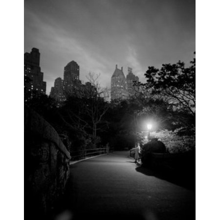 - USA New York City Manhattan Night scene in Central Park Poster Print