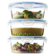 Superior Borosilicate Glass Meal Prep Food Storage Containers (3 Pack, 30 oz.) BPA Free Airtight Snap Locking Lid - Freezer, Microwave, Oven Safe, Portion Control Containers for Home and Work