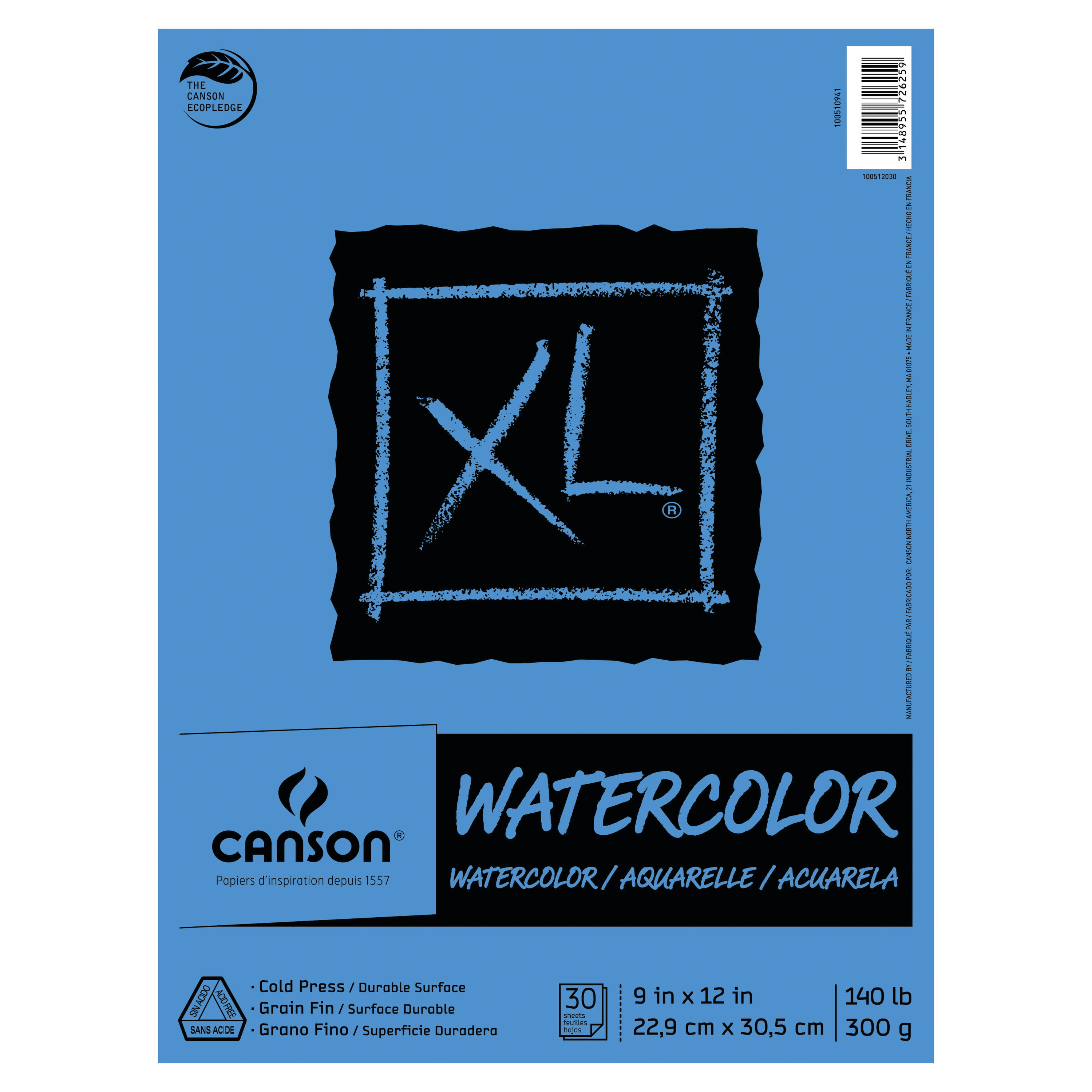 Natural White 140 Pound Canson Arches Watercolor Pad 10 x 14 Inch Rough Finish 12 Sheets