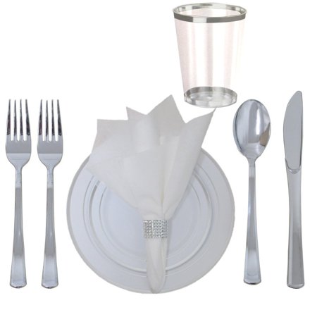 360 Piece Disposable Plastic Wedding Tableware Dinnerware Set. Silver Rimmed Dinner and Dessert Plates, Silver Cutlery Set, Silver Rimmed Tumblers, Linen Feel Napkins With Rhinestone Napkin - Wedding Dishware