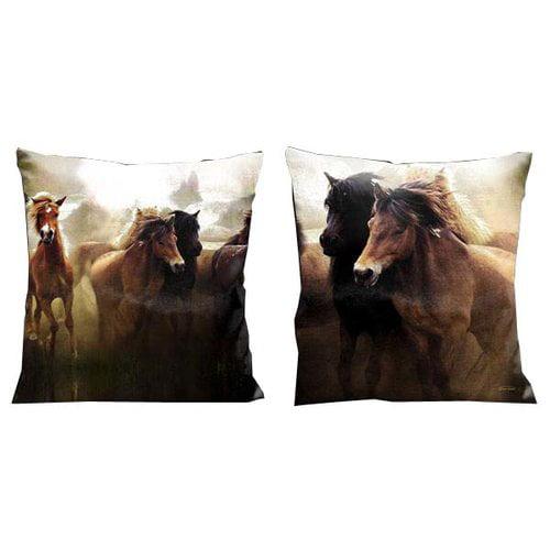 Lama Kasso Mustangs Western Running in the Wild Microsuede Throw Pillow