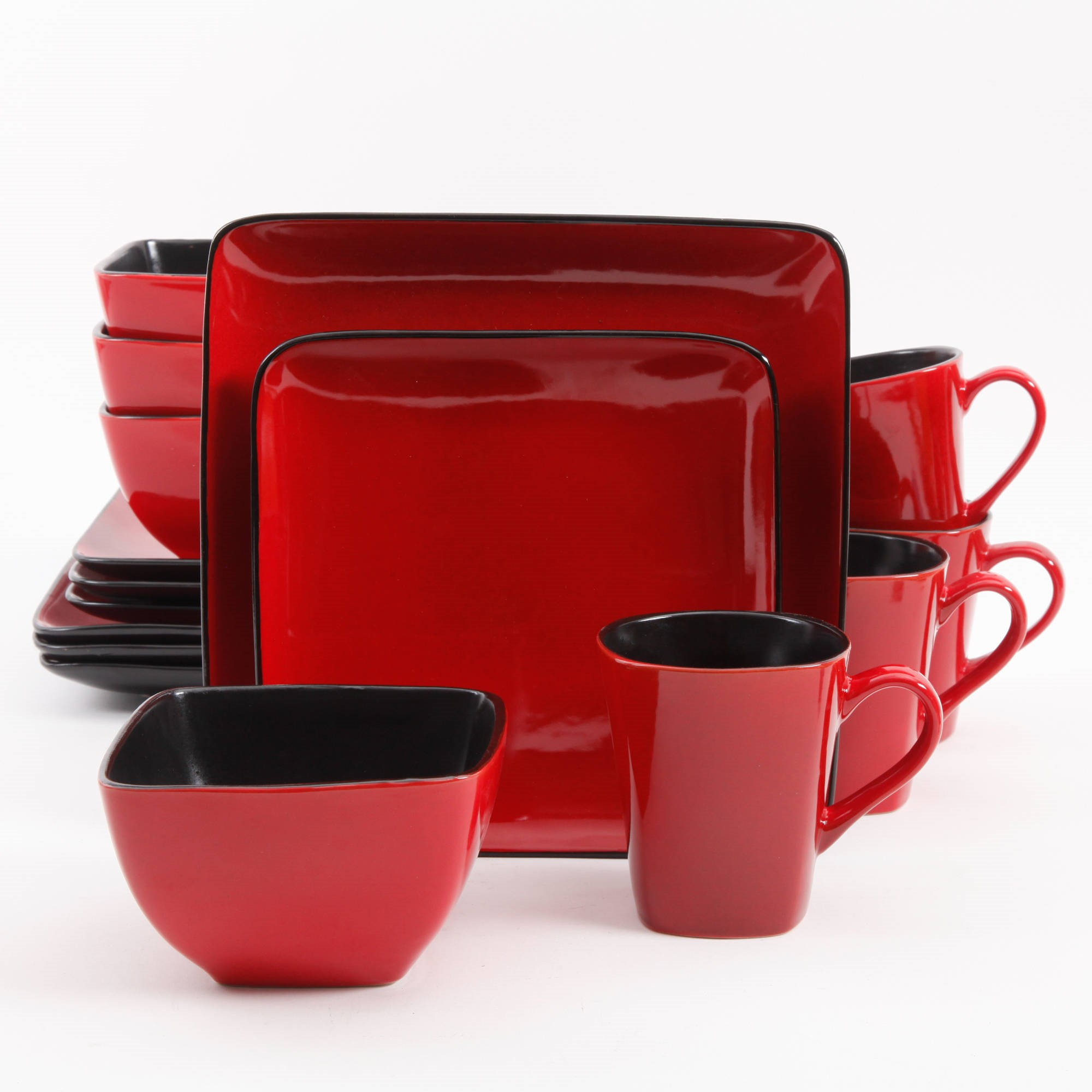 Better Homes & Gardens Rave 16-Piece Square Dinnerware Set, Red