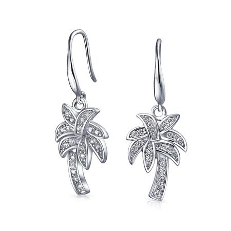 Nautical Pave CZ Cubic Zirconia Palm Tree Dangle Earrings For Women For Teen 925 Sterling Silver French Hook - image 5 de 5