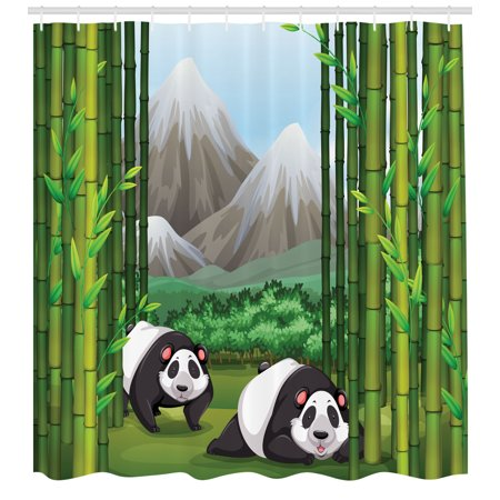 Tropical Shower Curtain Panda Bears Walking Among Bamboo Majestic Mountain Jungle Cartoon Illustration Fabric