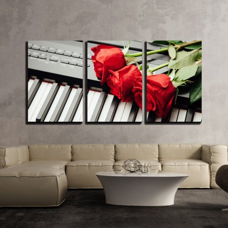 wall26 - 3 Piece Canvas Wall Art - Piano Keys and Red Roses - Modern Home Decor Stretched and Framed Ready to Hang - 24