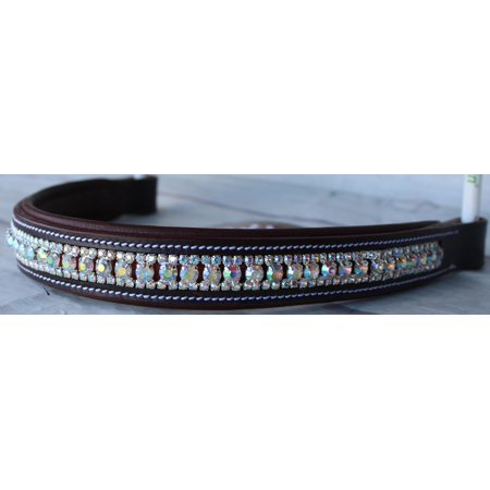 Pony Dressage Bridle - Equestrian Horse English Dressage Bridle BROWBAND Full Brown White Bling 809132
