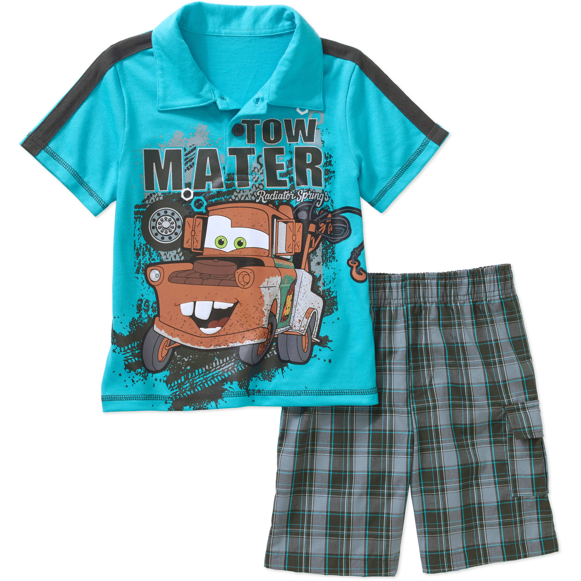 Cars Toddler Boy Graphic Polo Tee Shirt and Shorts Outfit Set