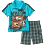 Toddler Boy Graphic Polo Tee Shirt and Shorts Outfit Set