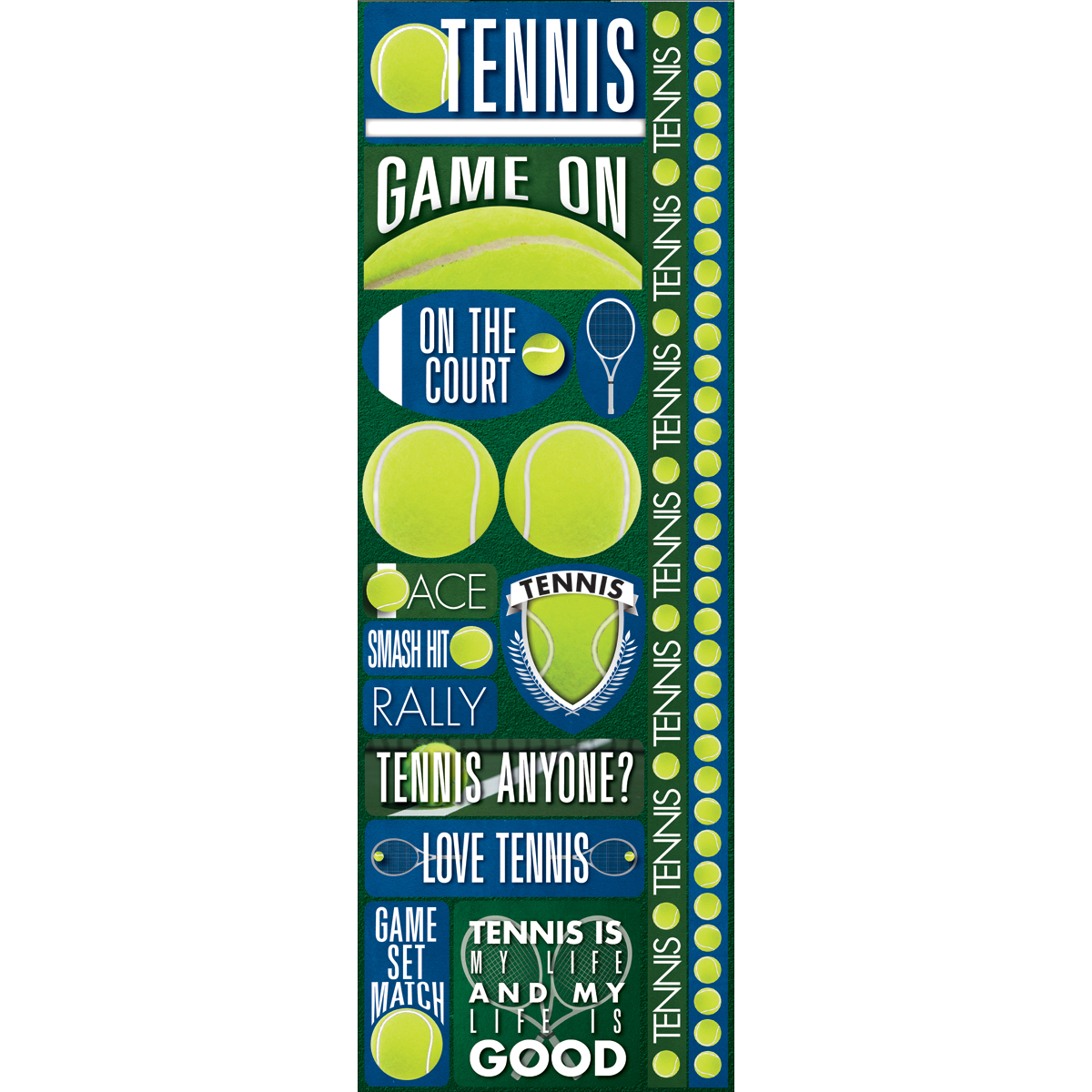 "Tennis - Signature Series Cardstock Combo Sticker 4.25""X12"""