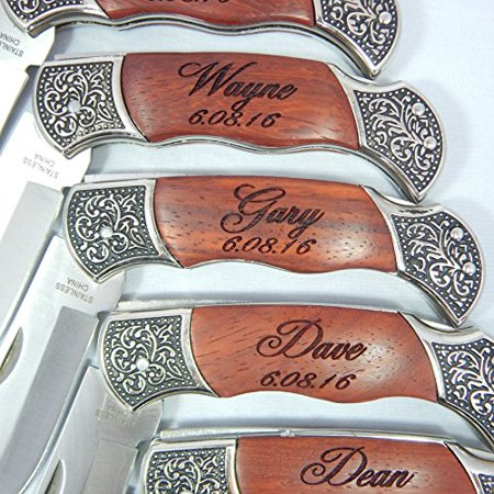 Personalized Laser Engraved Pocket Knife Rosewood HandleGroomsmen with Sheath (Pocket Knife Engraved Camo)