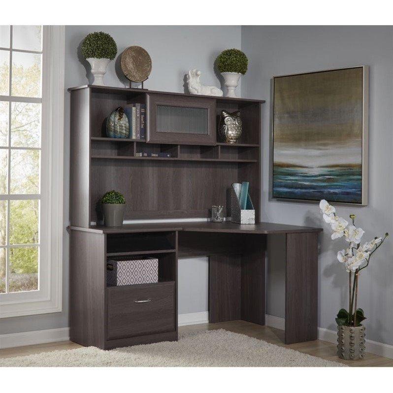 Bush Cabot Corner Desk With Hutch In Heather Gray