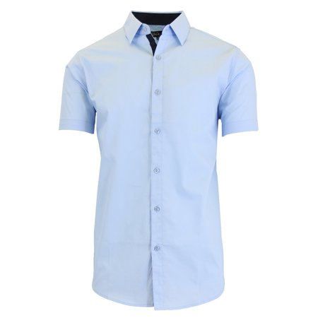 Men's Short Sleeve Slim-Fit Solid Dress Shirts (Men Fitted Dress Shirt White)