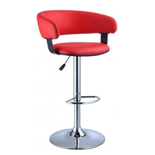 Faux Leather Barrel & Chrome Adjustable Height Bar Stool-Upholstery:Red