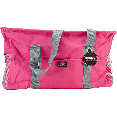 "Storage Studios Large Utility Tote, 10.5"" x 20.5"" x 11"", Pink and Grey"