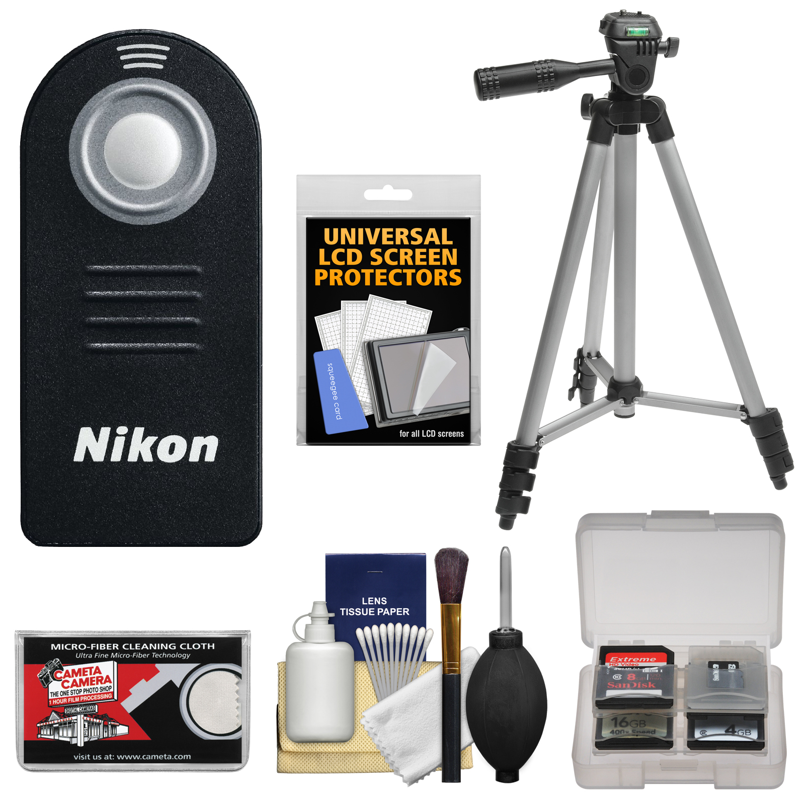 Nikon ML-L3 Wireless Shutter Release Remote Control + Tripod + Cleaning Kit for Nikon 1 V2, V3, J3, J4, J5 Interchangeable Lens Digital Cameras