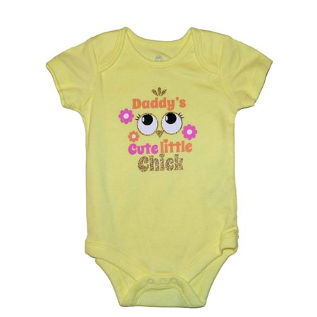 Infant Girls Daddys Cute Little Chick Yellow Easter Creeper Bodysuit Romper