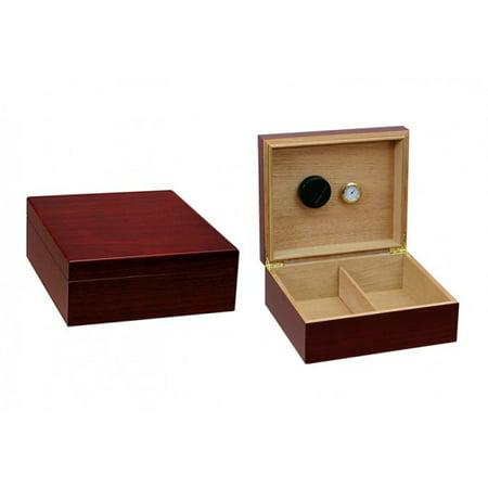 Chalet Cigar Humidor - Cherry Finish - Capacity: 25 to (Best 25 Cigar Humidor)