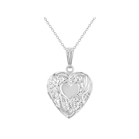 Sterling Silver Floral Pendant - Small Floral Print Memory Photo Pendant Heart Locket Girls Necklace 19