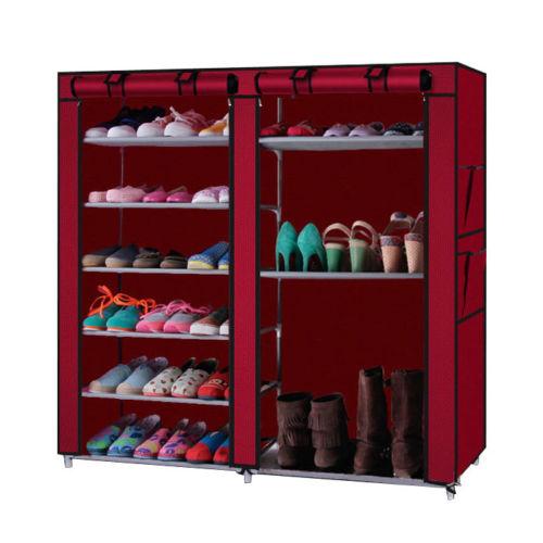 Zimtown Double Row Shoe Boot Closet Rack Shelf Storage Organizer Cabinet 9 Layer Wine Red