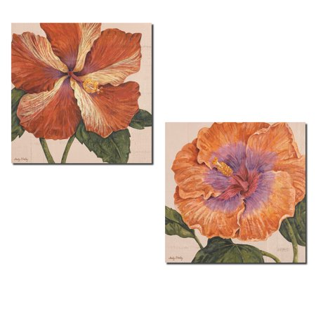 Island Hibiscus; Beautiful Blooming Tropical Floral Decor; Two 12x12in Poster Prints