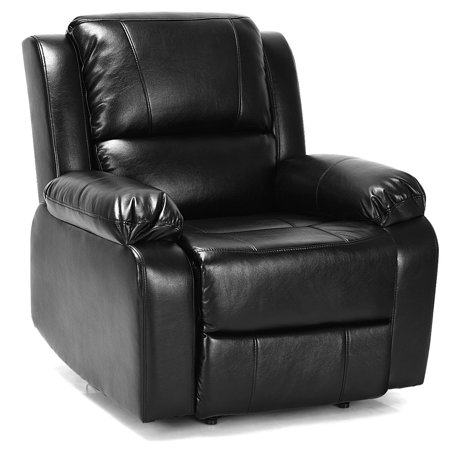 Manual Recliner Chair Lounge Sofa PU Leather Padded Home Theater Reclining
