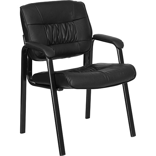 Leather Executive Guest and Reception Chair, Black