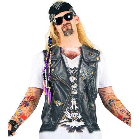 Mens Biker Tattoo Tee Shirt With Mesh Long Sleeves
