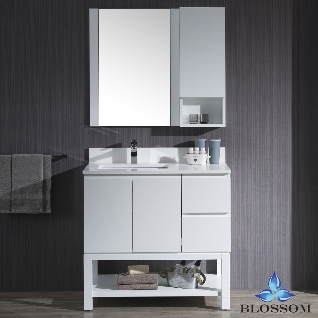"Monaco 36"" Lt w/ Mirror and Wall Cabinet (Matte White)"