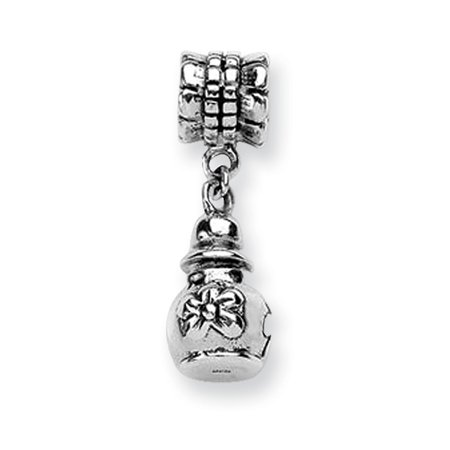 Sterling Silver Polished Antique finish Reflections Floral Ash Dangle Bead Charm - Floral Beads