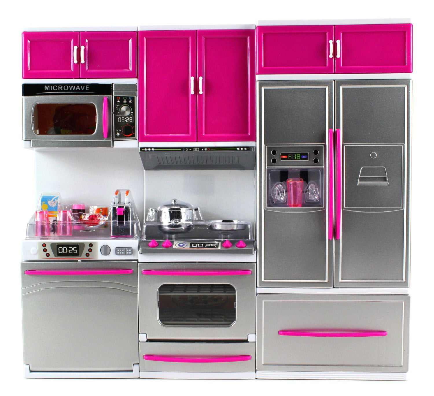 Kitchen Connection My Modern Kitchen Full Deluxe Kit Battery Operated Kitchen Playset Refrigerator Stove Microwave Pink Silver Walmart Com Walmart Com