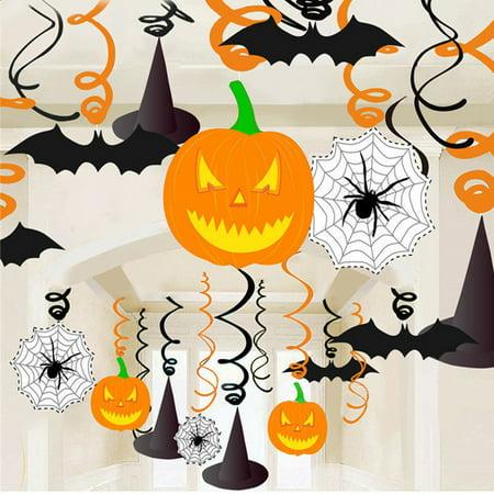 30pcs PVC Halloween Hanging Banner Spiral Pendant Pumpkin Spider Web Bat Party Decoration for $<!---->