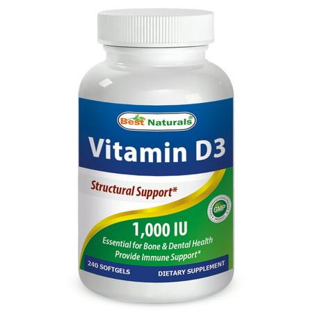 Best Naturals La vitamine D3 1000 UI 240 Gélules