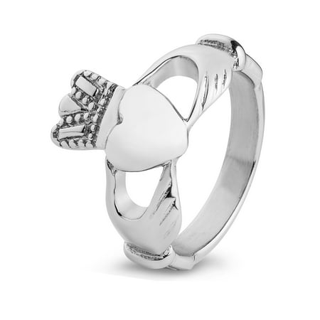 Polished Traditional Celtic Claddagh Stainless Steel Ring (14mm)