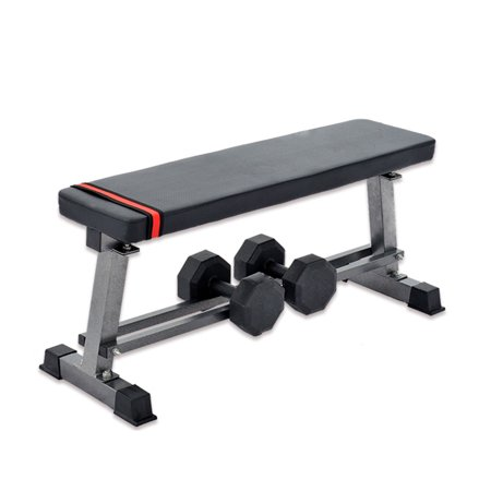 karmas product flat weight bench with bulitin dumbbell