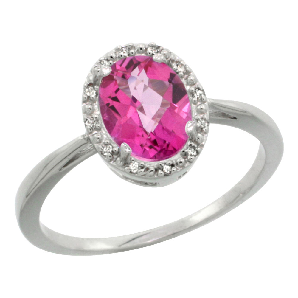 14K White Gold Natural Pink Topaz Diamond Halo Engagement Ring Oval ...