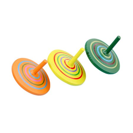 Mosunx 3Pcs Colorful Funny Handmade Painted Wood Spinning Top Wooden Toys Education - Wooden Spinning Tops