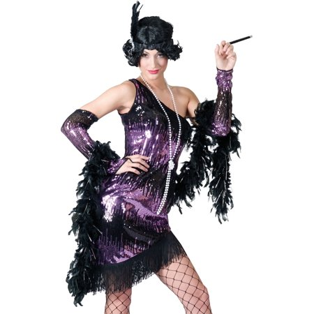Funny Fashion Sexy 20s Purple Sequin Show Biz Flapper Halloween Costume Large